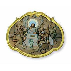 Bas-relief Souper à Emmaüs 55x45 cm bois s1