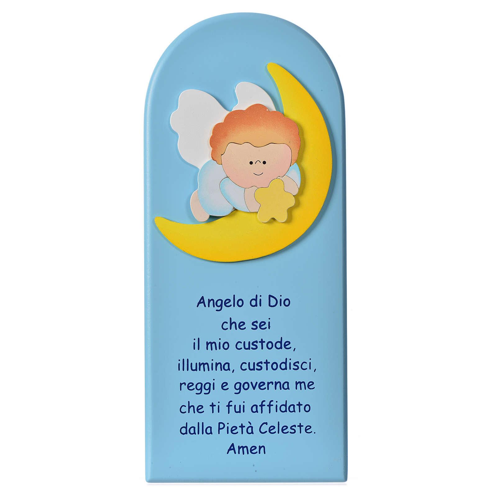 Cadre religieux Ange sur lune bois 4