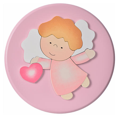 Round panel, angel with heart 1