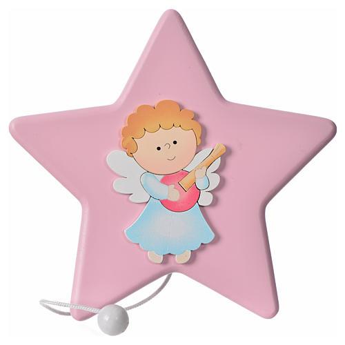 Estrella Ángel con mandolina y carillón 16x16 cm 1