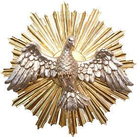 Bassorilievo Spirito Santo 44cm legno Valgardena Antico Gold s1
