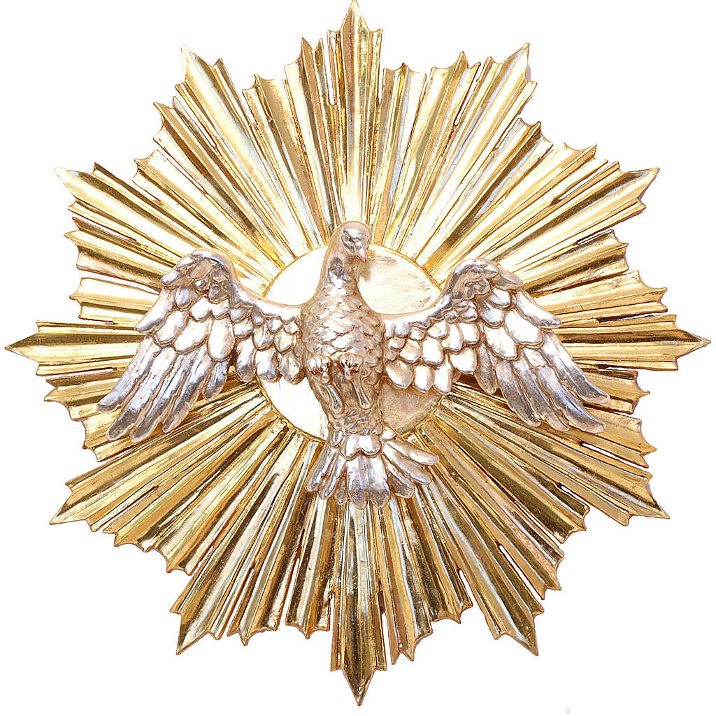 Bassorilievo Spirito Santo cm 28 legno Valgardena Antico Gold 4