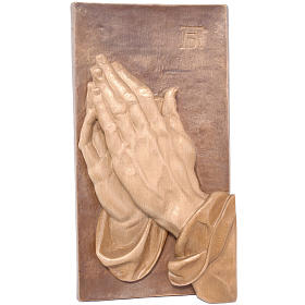 Bas-relief with joined hands, multi-patinated Valgardena wood s1