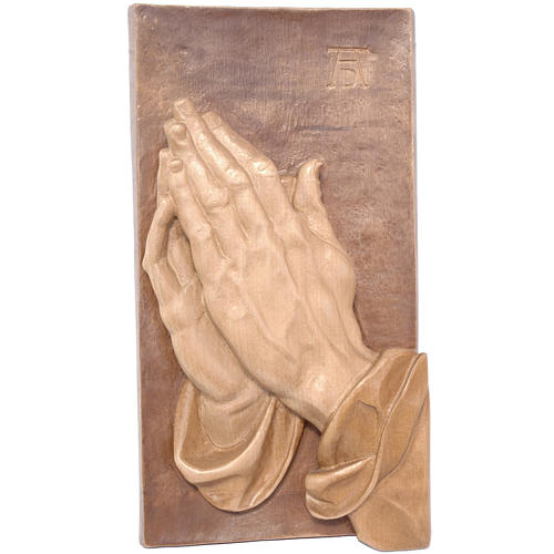 Bas-relief with joined hands, multi-patinated Valgardena wood 1