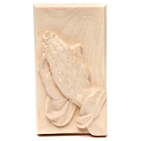 Bas-relief with joined hands, natural wax Valgardena wood s1