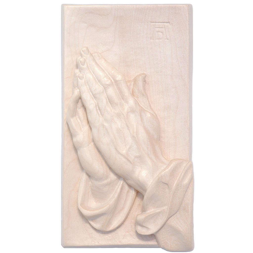 Bassorilievo mani giunte legno Valgardena naturale cerato 4