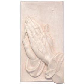 Bassorilievo mani giunte legno Valgardena naturale cerato s1