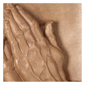 Bas-relief with joined hands patinated Valgardena wood s2