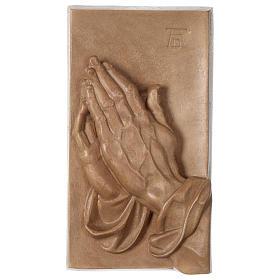 Płaskorzeźba Dłonie Złożone drewno Valgardena patynowane s1