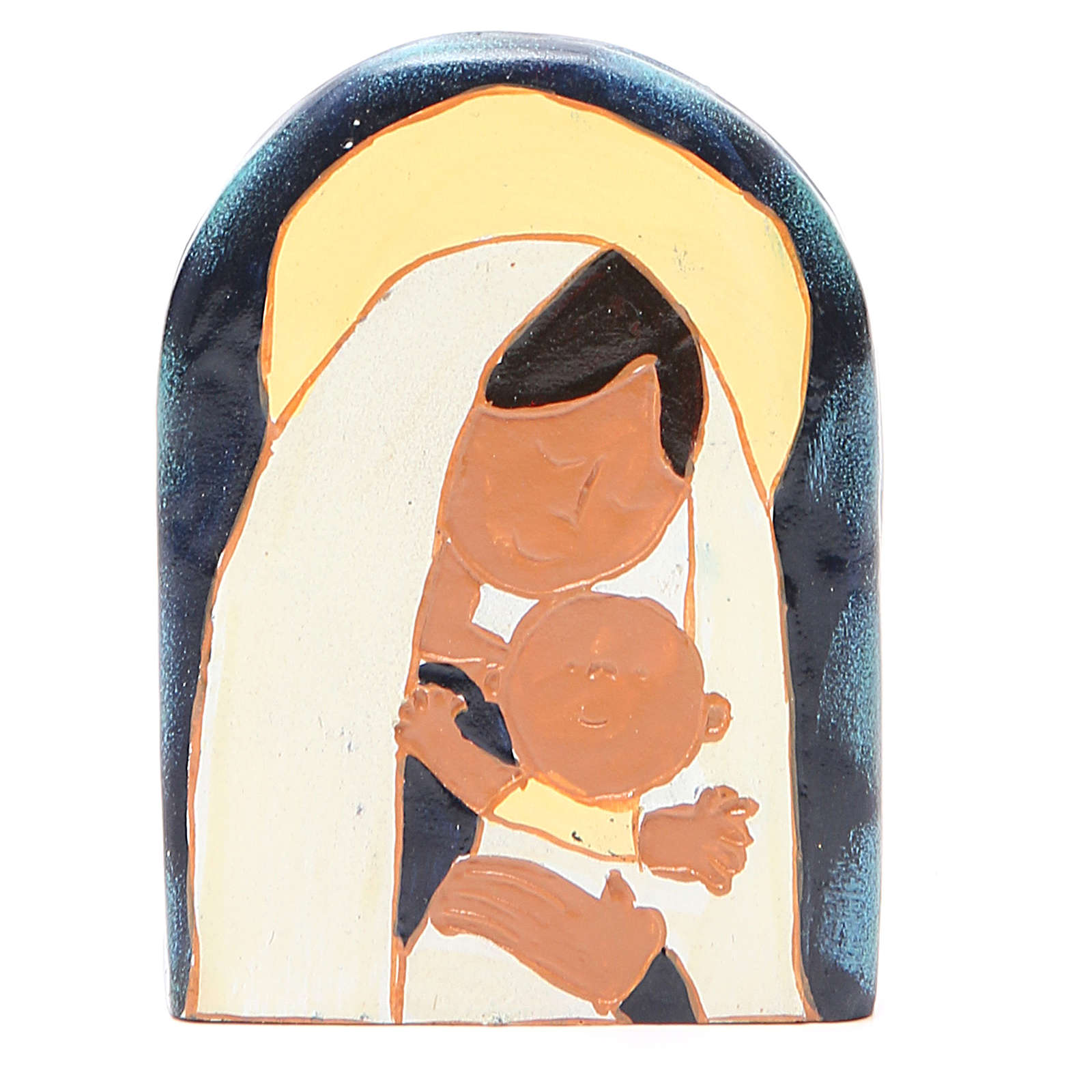 STOCK Bajorrelieve Virgen con Niño resina coloreada 4