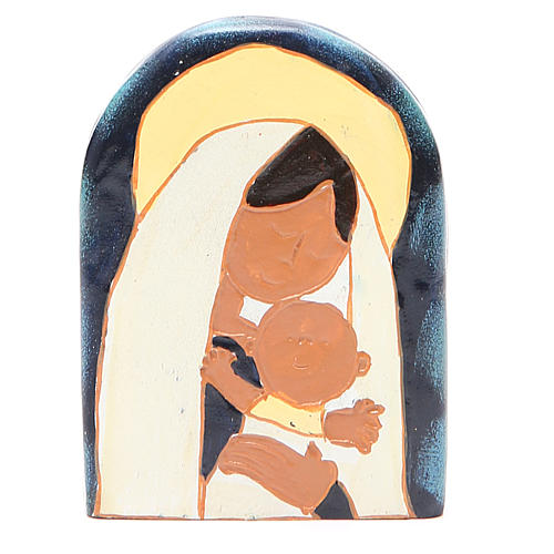STOCK Bas-relief Vierge à l'Enfant résine colorée 1