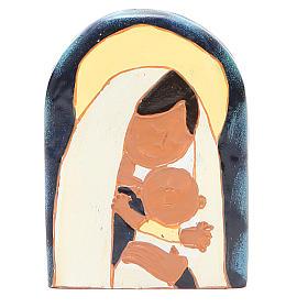 STOCK Bassorilievo Madonna con Bambino resina colorata s1