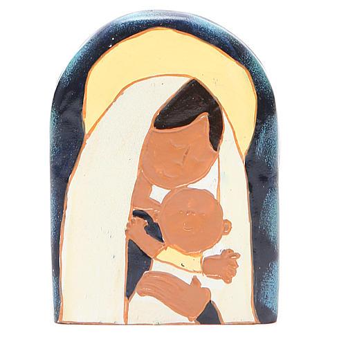 STOCK Bassorilievo Madonna con Bambino resina colorata 1