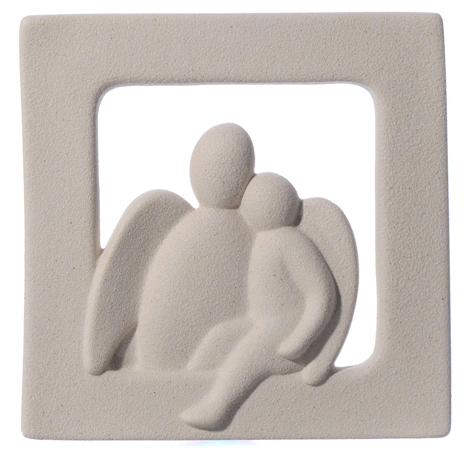 Bassorilievo Angelo custode gres porcellanato avorio 16X16 4