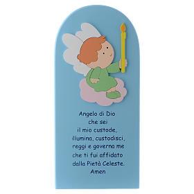 Retablo Ángel de Dios madera coloreada azul 30x10 cm s1