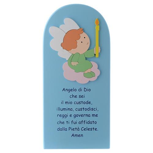 Retablo Ángel de Dios madera coloreada azul 30x10 cm 1