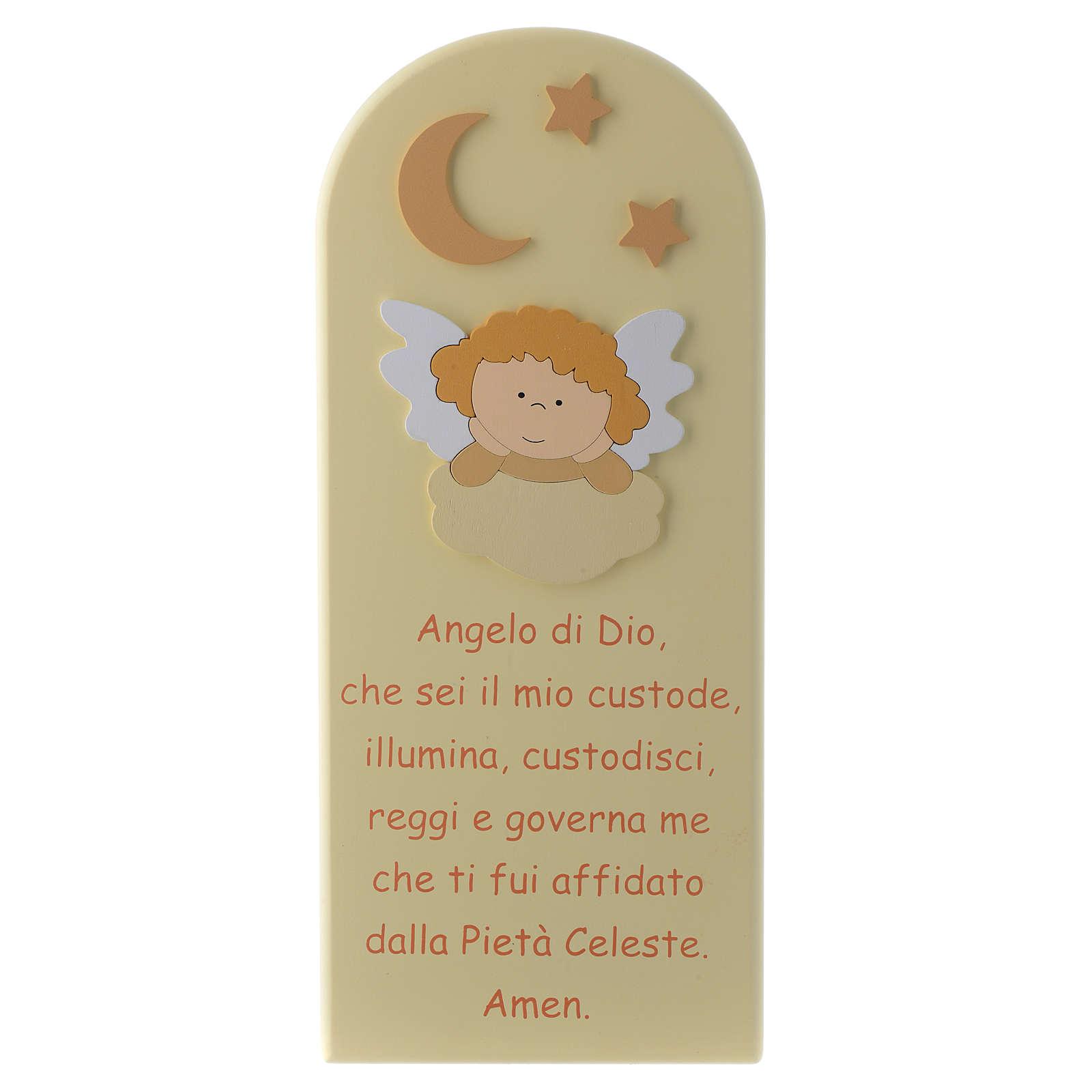 Retablo Ángel de Dios con Ángel madera beis 30x10 cm 4