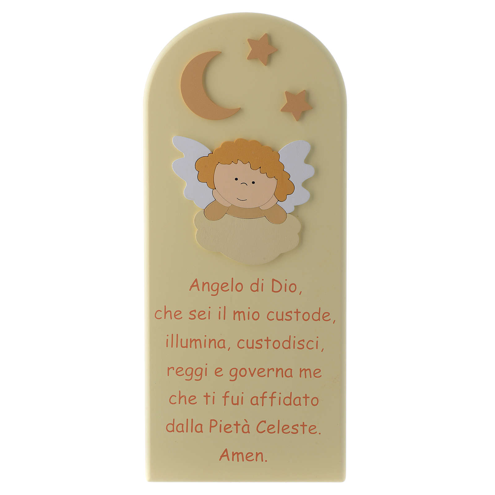 Angel of God shovel with Angel, in beige wood 30x10 cm 3