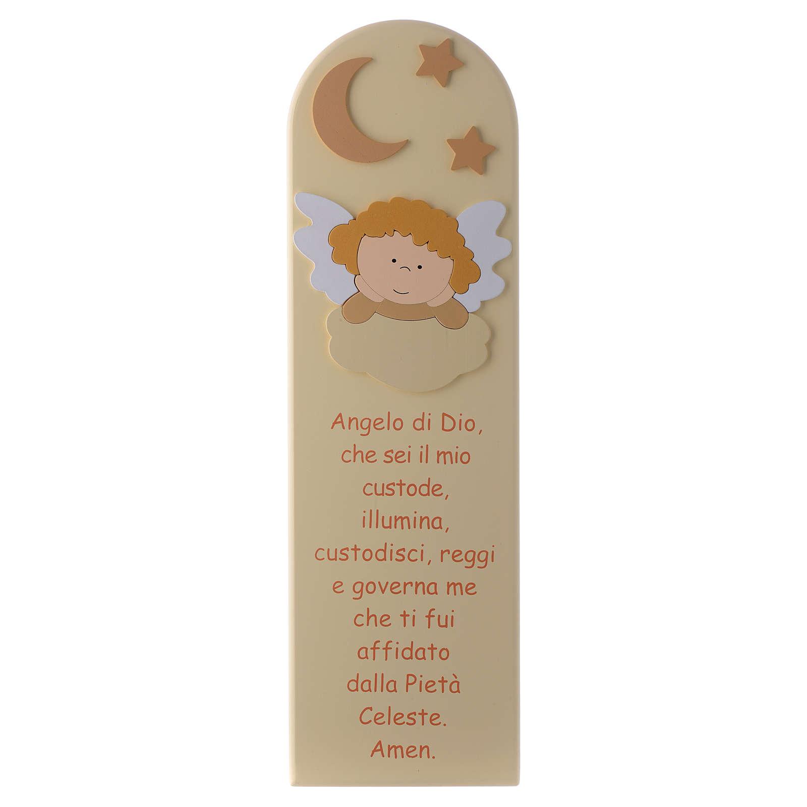 Pala Angelo di Dio con Angelo legno beige 45x15 cm 3