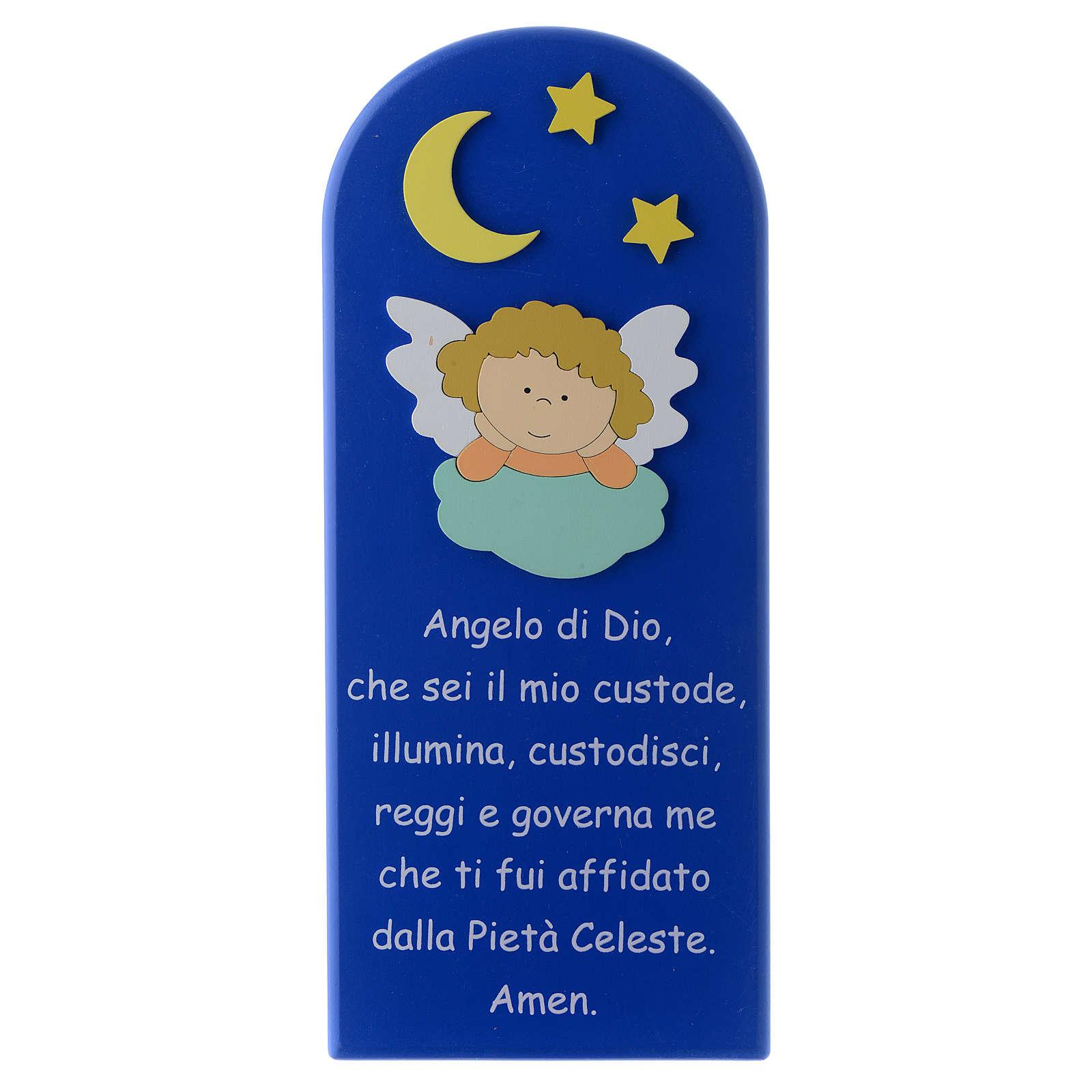 Retablo Ángel de Dios con Ángel y Estrellas madera azul 30x10 cm 4