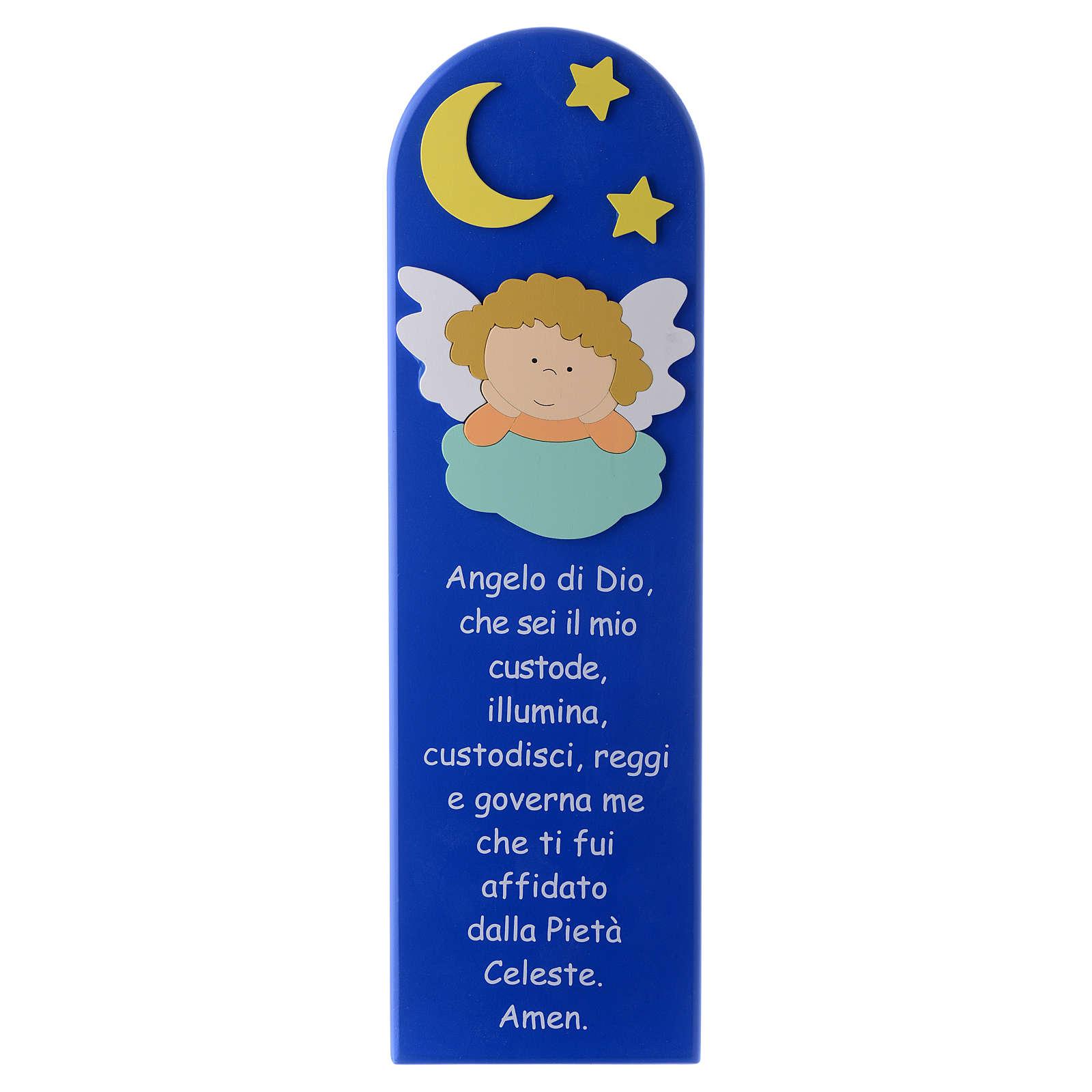 Retablo Ángel de Dios con Ángel y Estrellas madera azul 45x15 cm 4