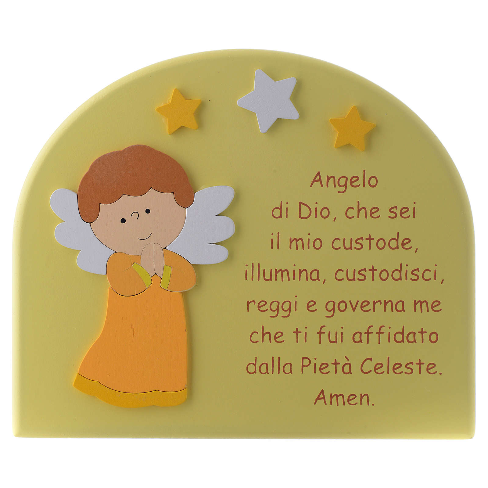 Angel of God shovel with yellow wooden dome and orange Angel 15x20 cm 3