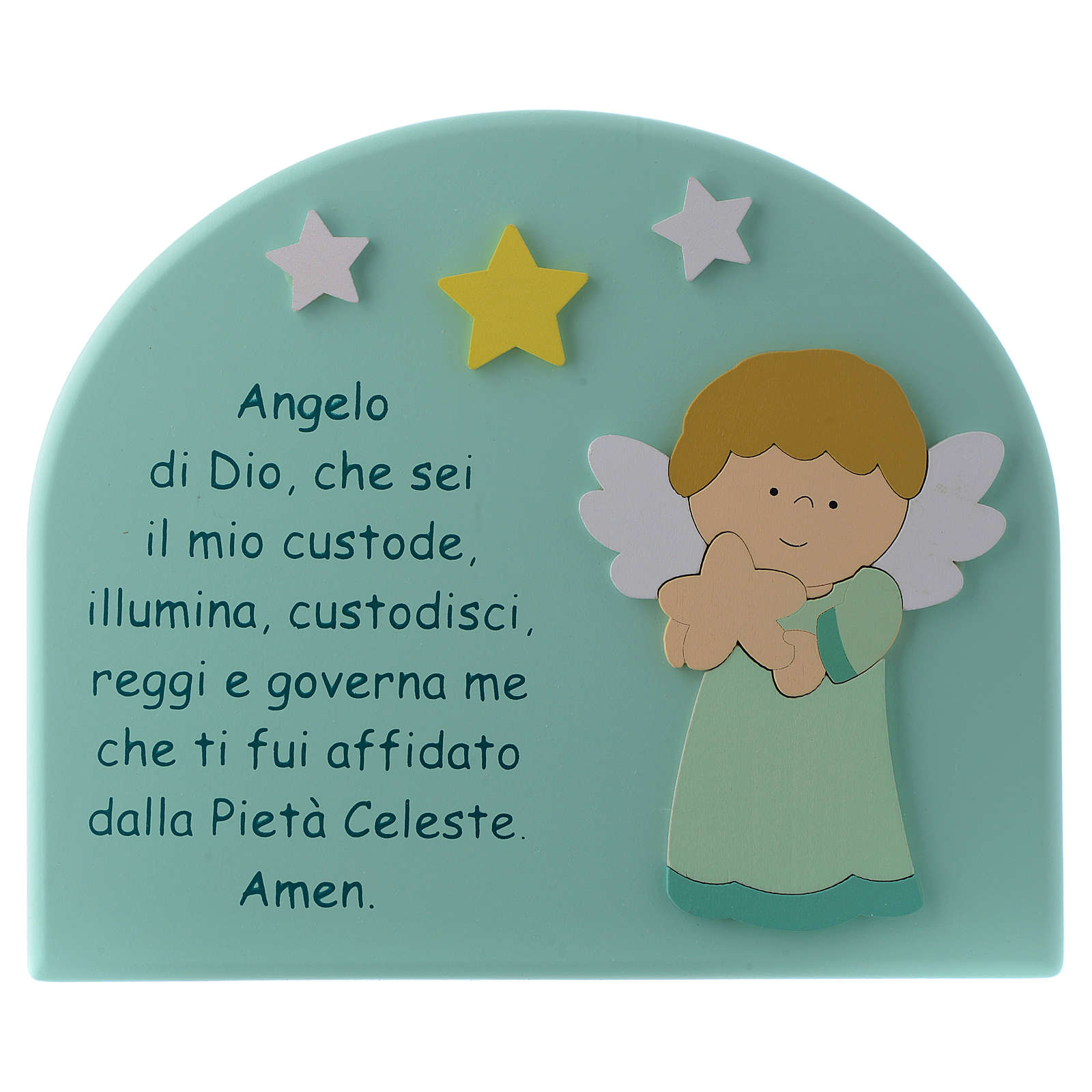 Angel of God shovel with aqua green wooden dome and Angel 15x20 cm 4