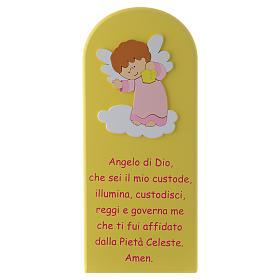 Retablo Ángel de Dios amarillo Ángel rosa 30x10 cm s1