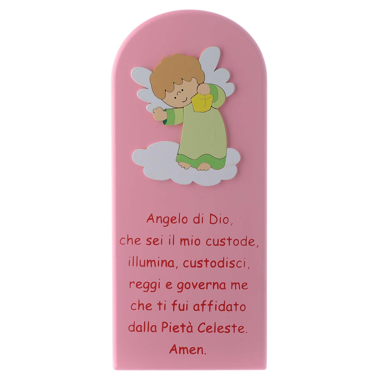 Retablo Ángel de Dios rosa Ángel verde 30x10 cm 4