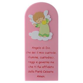 Retablo Ángel de Dios rosa Ángel verde 30x10 cm s1