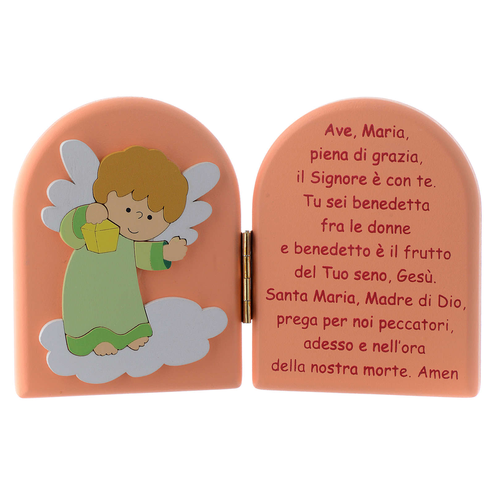 Hail Mary diptych with green Angel in pink wood 10x15 cm 3