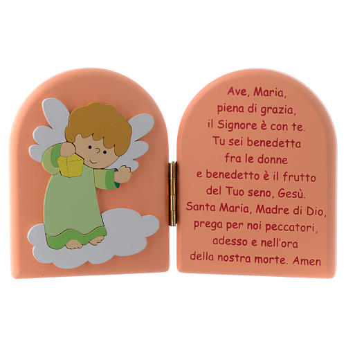 Hail Mary diptych with green Angel in pink wood 10x15 cm 1