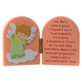 Díptico Ave María y Ángel verde madera rosa 10x15 cm s1