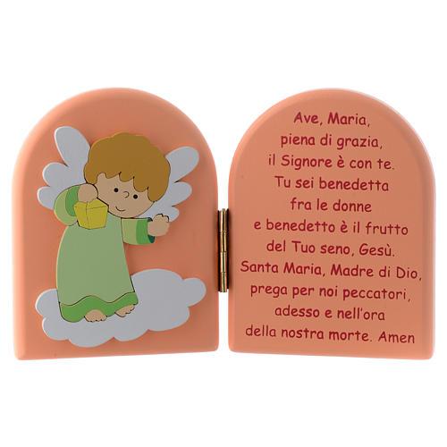 Díptico Ave María y Ángel verde madera rosa 10x15 cm 1
