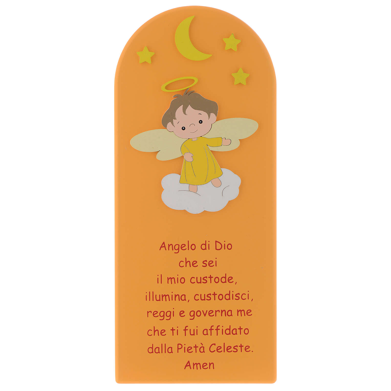 Angel of God shovel on coloured orange wood 30x10 cm 4