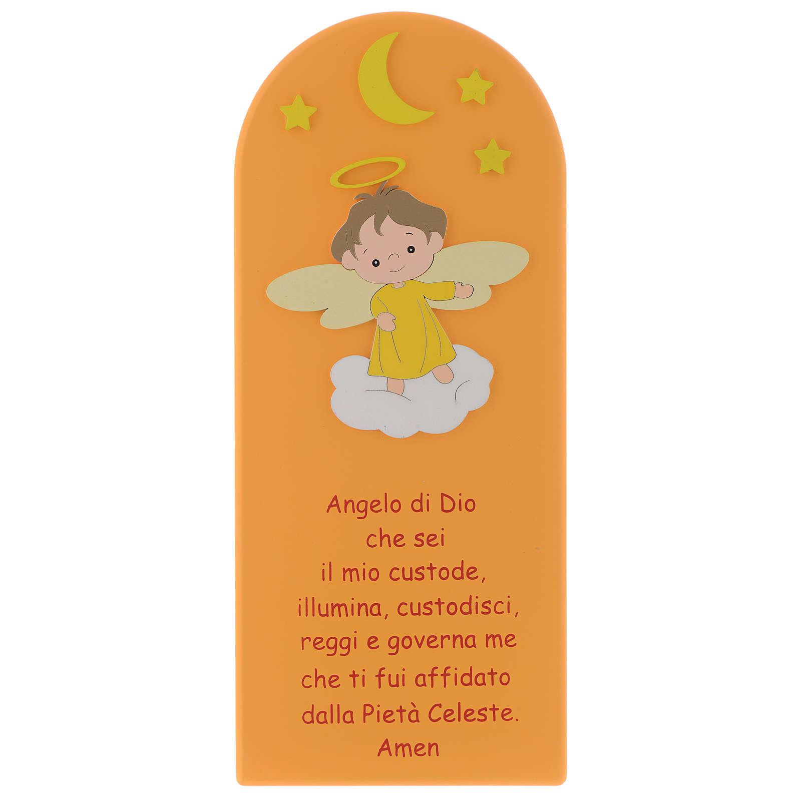 Pala Angelo di Dio legno colorato arancio 30x10 cm 4