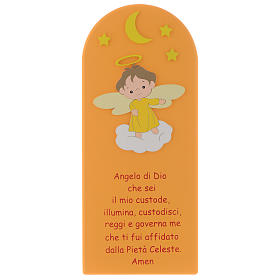Angel of God shovel on coloured orange wood 30x10 cm s1