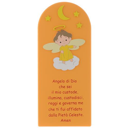 Angel of God shovel on coloured orange wood 30x10 cm 1