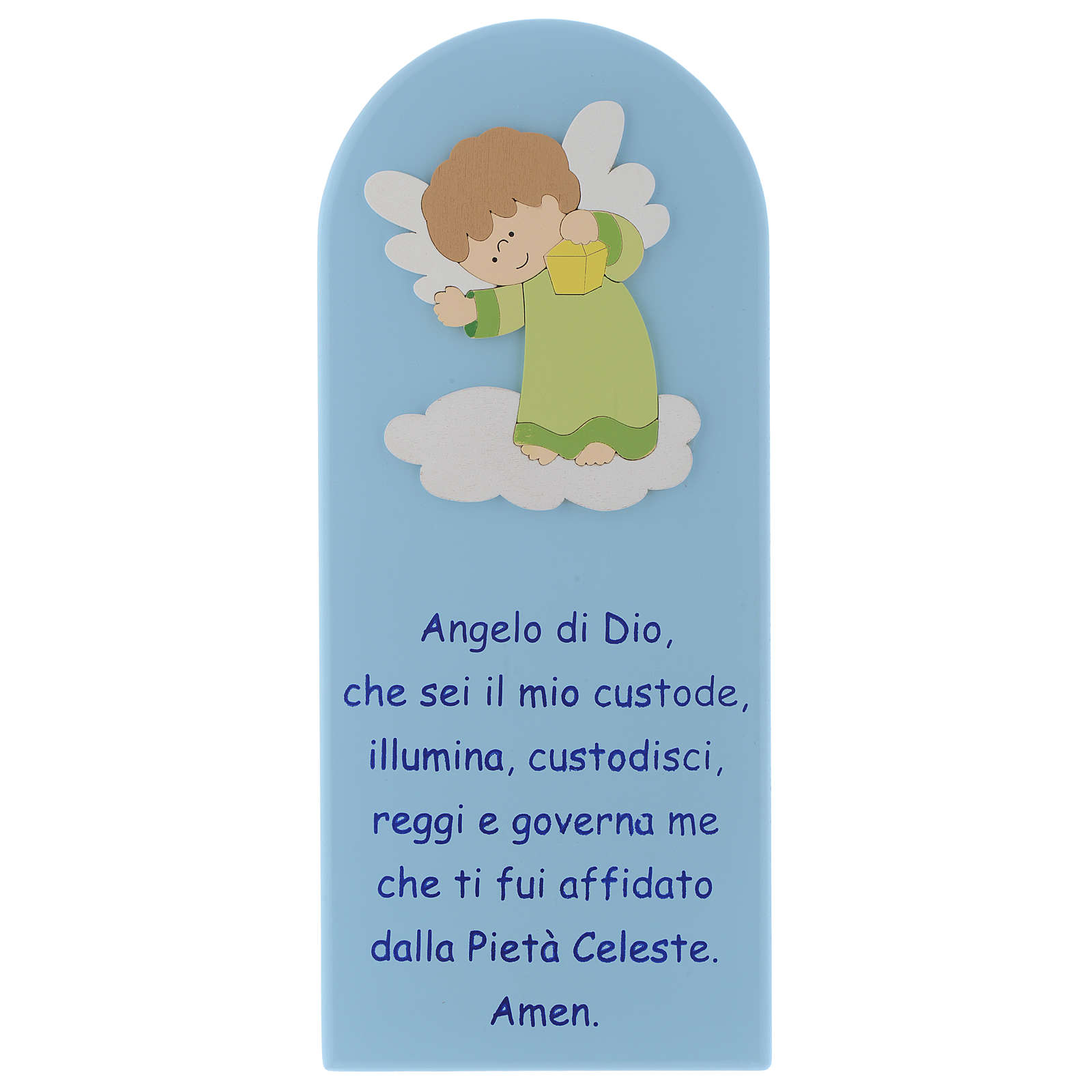 Pala Angelo di Dio in legno colorato azzurro angelo verde 30x10 4