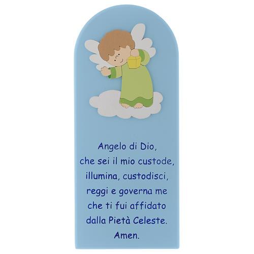 Pala Angelo di Dio in legno colorato azzurro angelo verde 30x10 1