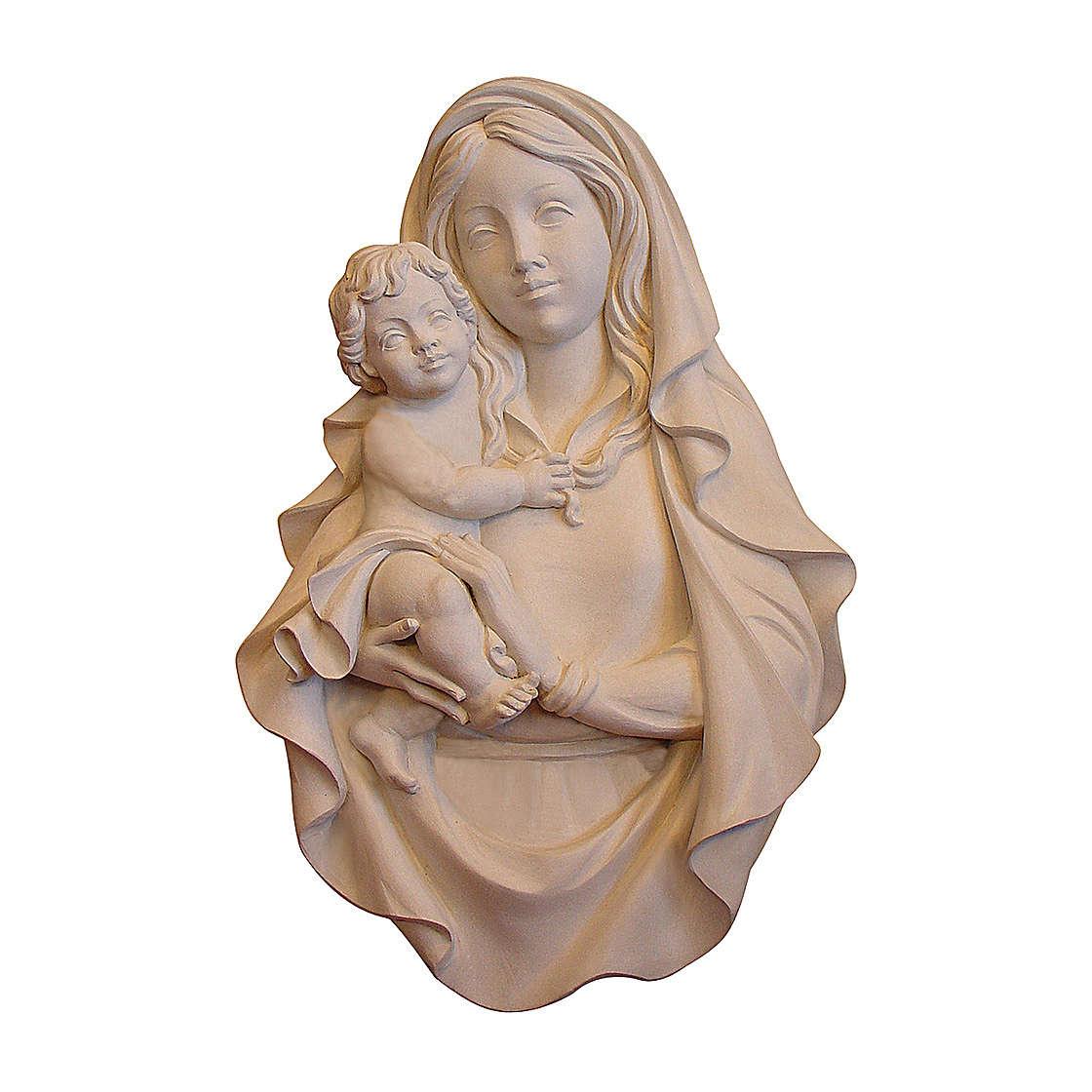 Bajorrelieve Virgen Rafael madera Val Gardena natural 4