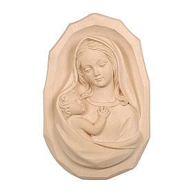 Bassorilievo Madonna con bambino legno Valgardena naturale s1