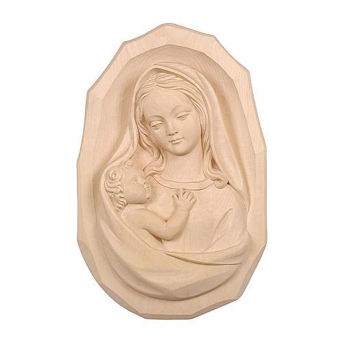 Bassorilievo Madonna con bambino legno Valgardena naturale 1
