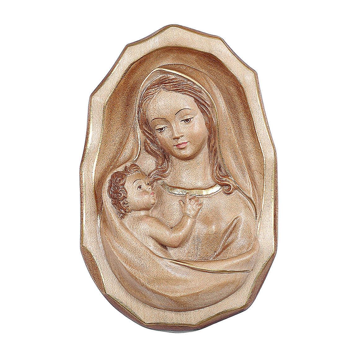 Bajorrelieve Virgen con niño madera Val Gardena bruñida 3 colores 4