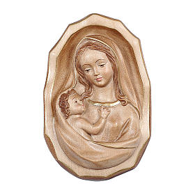 Bajorrelieve Virgen con niño madera Val Gardena bruñida 3 colores s1