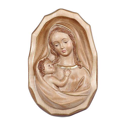Bajorrelieve Virgen con niño madera Val Gardena bruñida 3 colores 1