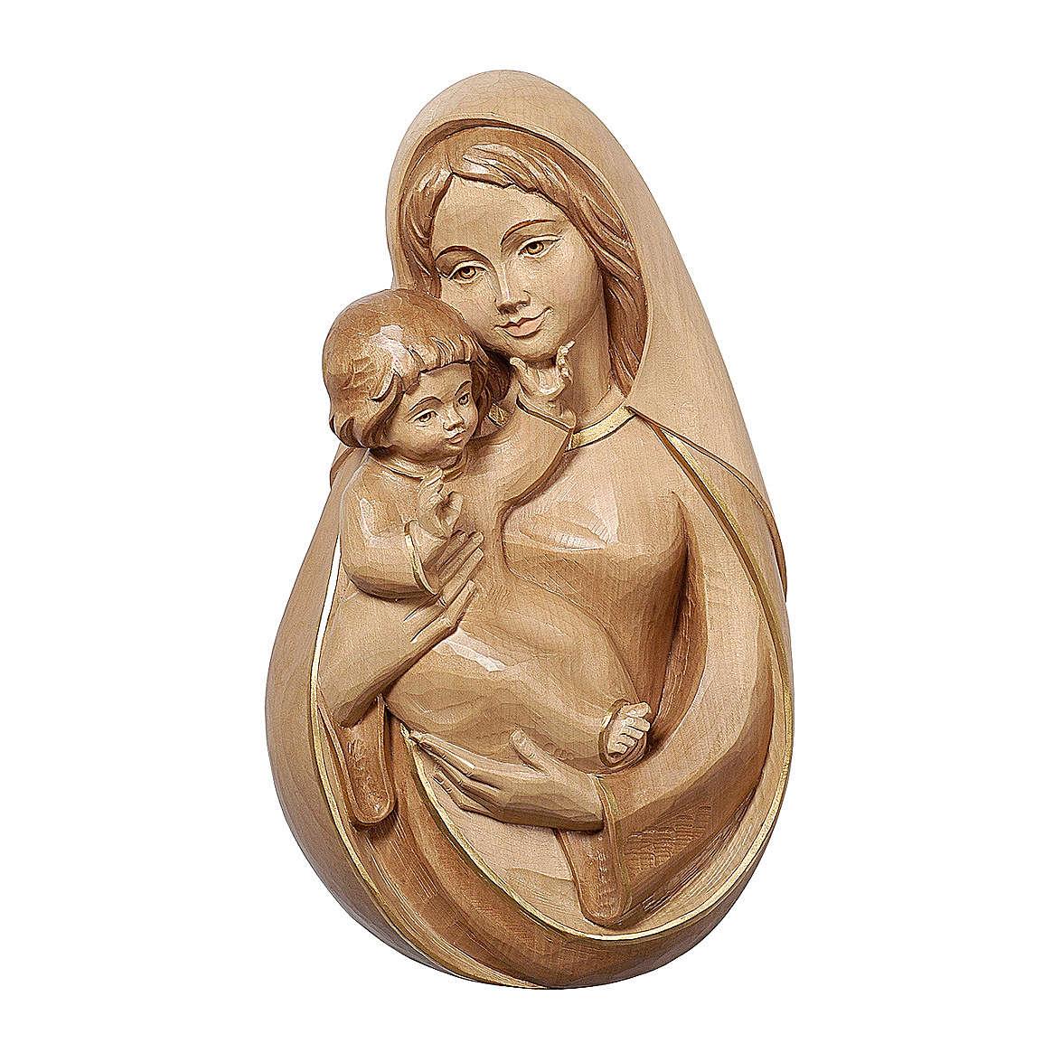 Bajorrelieve Virgen clásica madera Val Gardena bruñida 3 colores 4