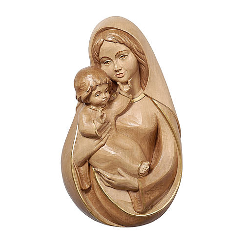 Bassorilievo Madonna classica legno Valgardena brunito 3 colori 1