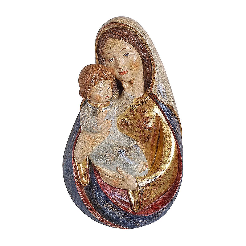 Bassorilievo Madonna classica 40 cm legno Valgardena oro zecchino antico 4