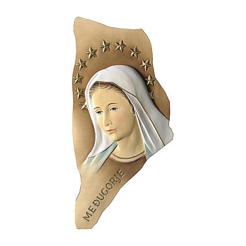 Bas-relief Notre-Dame de Medjugorje avec auréole d'étoiles bois peint Val Gardena